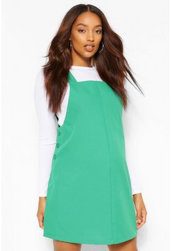 Forest green Maternity Woven Grow With Me Pinafore Dress