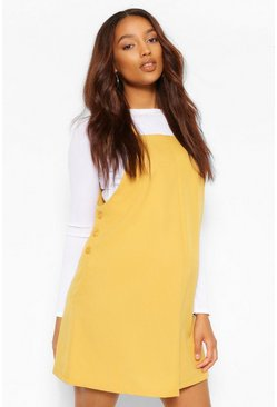 Mustard Maternity Woven Grow With Me Pinafore Dress