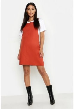 Rust orange Maternity Woven Grow With Me Pinafore Dress