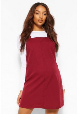 Wine red Maternity Woven Grow With Me Pinafore Dress