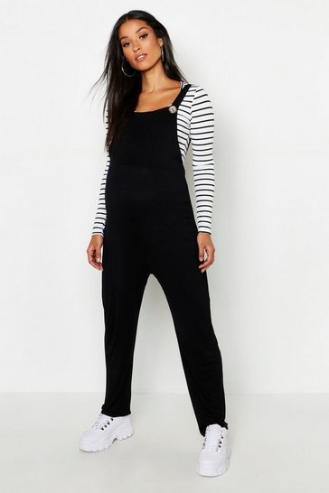 Black Maternity Jersey Lounge Dungarees