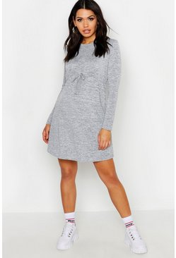 Grey marl grey Maternity Draw Cord Waist Swing Dress