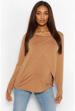 Camel beige Maternity Long Sleeved Nursing Top