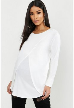 Ivory white Maternity Long Sleeved Nursing Top