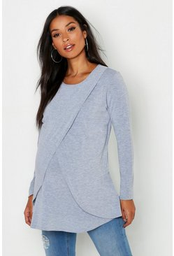 Light grey grey Maternity Long Sleeved Nursing Top
