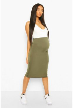 Khaki Maternity Over The Bump Hold In Midi Skirt