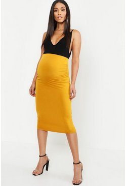 Mustard yellow Maternity Over The Bump Hold In Midi Skirt