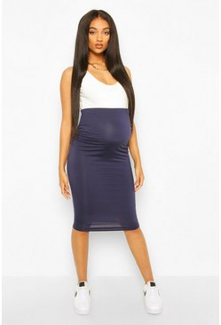 Navy Maternity Over The Bump Hold In Midi Skirt