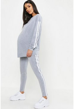 Light grey grey Maternity Contrast Stripe Lounge Set