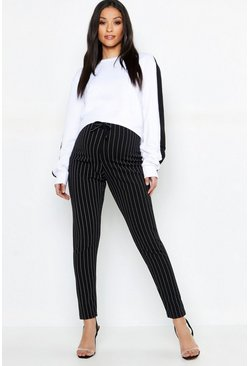 Black Maternity Pinstripe Drawstring Tapered Trouser