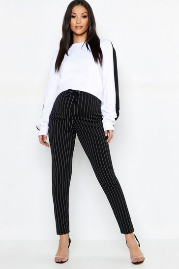 Black Maternity Pinstripe Drawstring Tapered Trouser