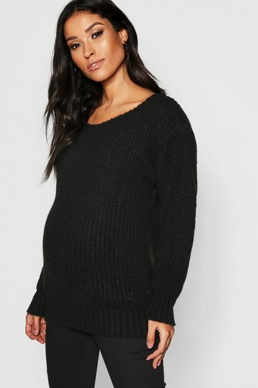 Black Maternity Slash Neck Knitted Jumper