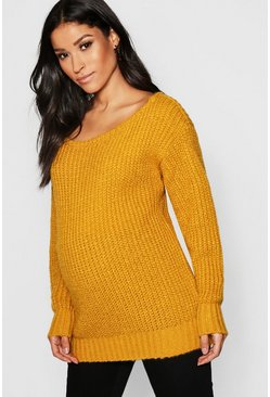Mustard Maternity Slash Neck Knitted Jumper