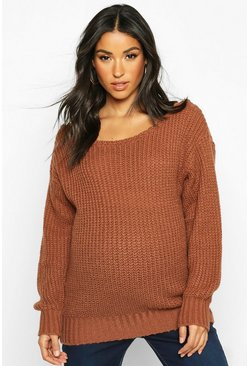 Rust orange Maternity Slash Neck Knitted Jumper