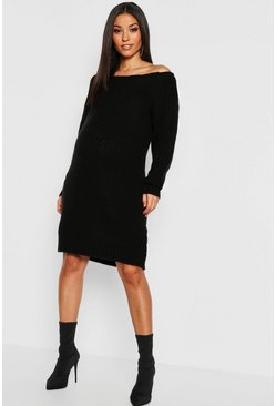Black Maternity Slit Neck Knitted Jumper Dress