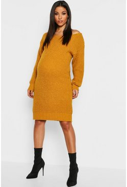 Mustard yellow Maternity Slit Neck Knitted Jumper Dress