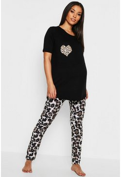 Black Maternity Leopard Heart PJ Set