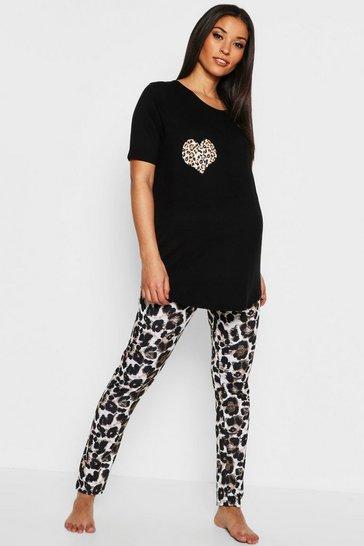 Black Maternity Leopard Heart Pyjama Set