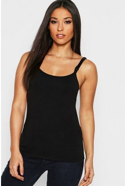 Black Maternity Nursing Cami Top