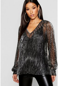 Black Maternity Shimmer Plisse Plunge Swing Top