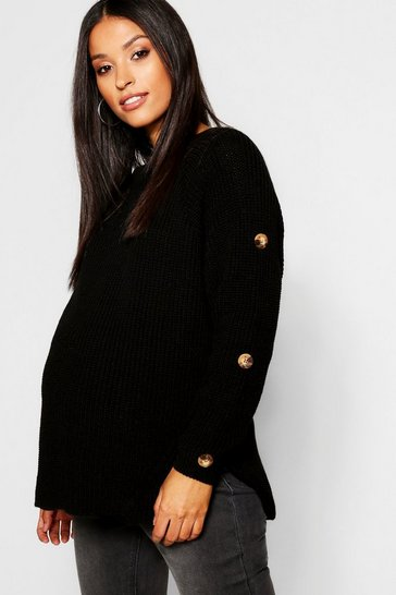 Black Maternity Horn Button Fisherman Knit Jumper