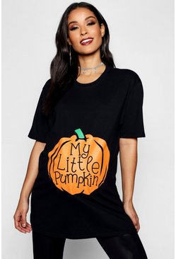 Black Maternity My Little Pumpkin Halloween T-Shirt