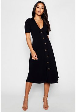 Black Maternity Horn Button A Line Midi Dress