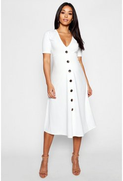 Ivory white Maternity Horn Button A Line Midi Dress
