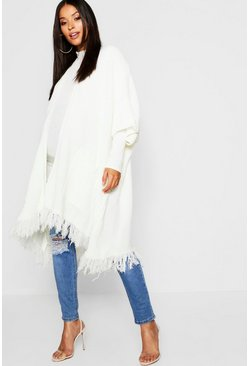 Cream white Maternity Tassel Hem Cardigan