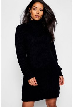 Black Maternity Soft Knit Roll Neck Jumper Dress