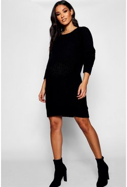 Black Maternity Soft Knit Jumper Dress