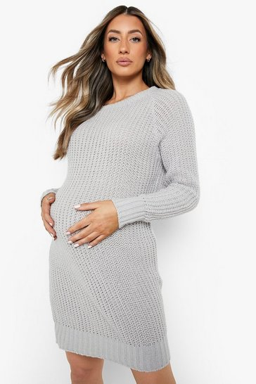 Grey marl grey Maternity Soft Knit Jumper Dress
