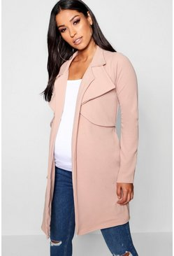 Stone beige Maternity Double Breasted Duster Jacket