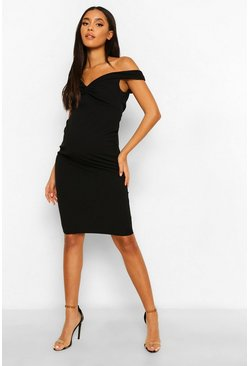 Black Maternity Twist Front Off The Shoulder Midi Dress
