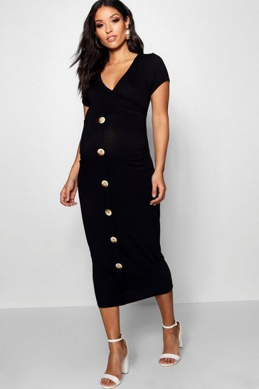 Black Maternity Wrap Front Horn Button Midi Dress