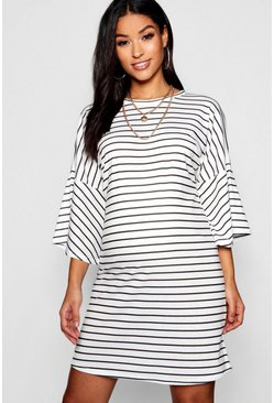 Black Maternity Mono Stripe Frill Sleeve Tshirt Dress