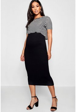 Black Maternity Stripe 2 Layer Nursing Dress