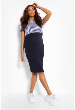 Navy Maternity Stripe 2 Layer Nursing Dress
