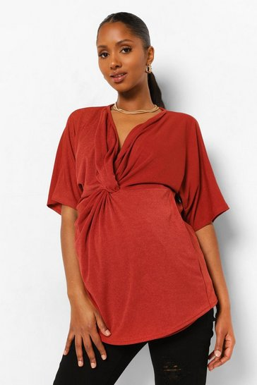 Red Maternity Twist Front Kimono Sleeve Blouse