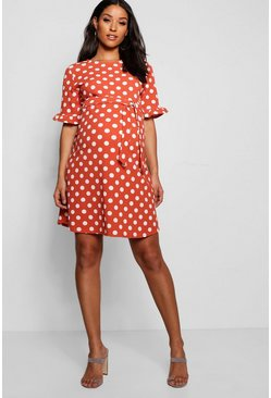 Terracotta orange Maternity Spot Print Ruffle Smock Dress