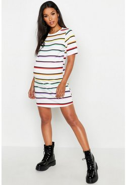 Maternity Rainbow Stripe T-Shirt Dress, White Белый