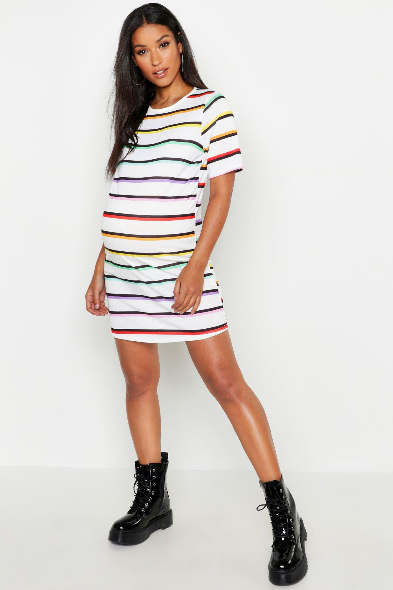 Maternity Rainbow Stripe T Shirt Dress Boohoo