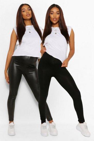 Black Maternity Louisa 2 Pack PU Jersey Leggings