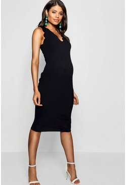 Black Maternity  Scalloped Edge Midi Dress
