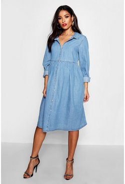 Blue Maternity Button Through Smock Dress
