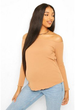 Camel beige Maternity Rib Lettuce Hem Off The Shoulder Top