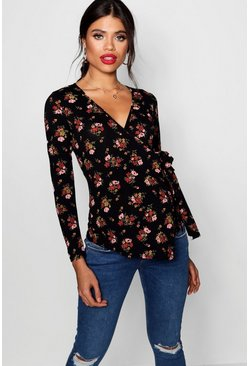 Black Maternity  Floral Long Sleeve Wrap Top