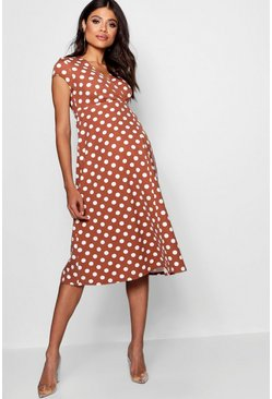 Terracotta orange Maternity  Polka Dot Wrap Dress