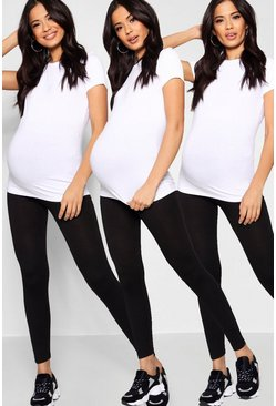 Black Maternity 3 Pack Over The Bump Legging