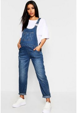 Maternity Mid Blue Wash Overall